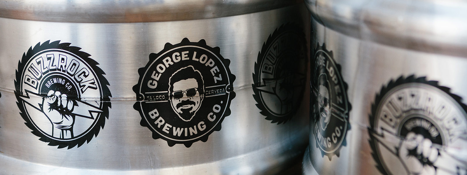 Buzzrock Brewing Co. and George Lopez Brewing Co. kegs at The Brews Hall @ Del Amo
