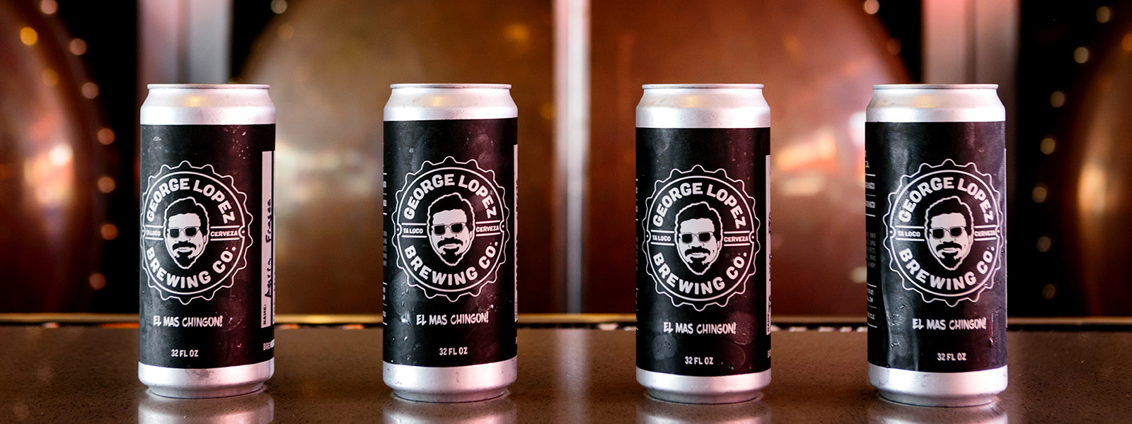 George Lopez Brewing Co. beer cans