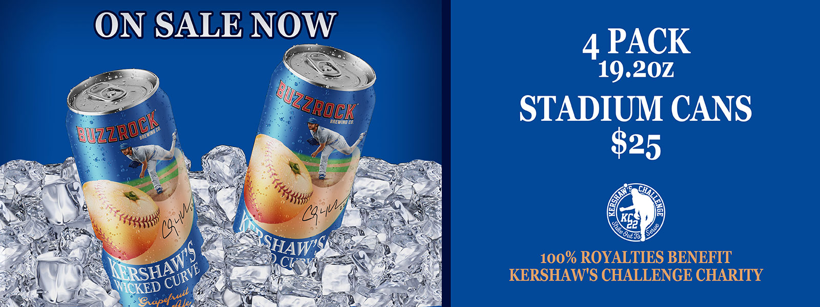 Kershaw's Wicked Curve 4-pack of 19.2 oz stadium cans - on sale now $25